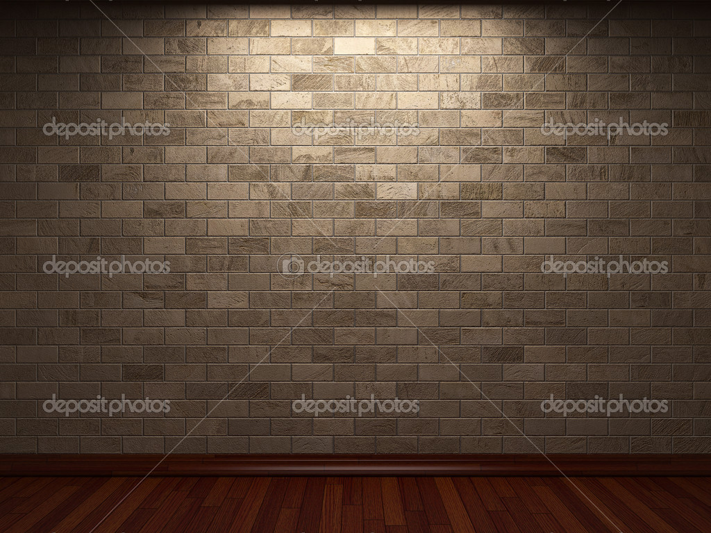 Illuminated stone wall made in 3D graphics  Stock Photo #2800770