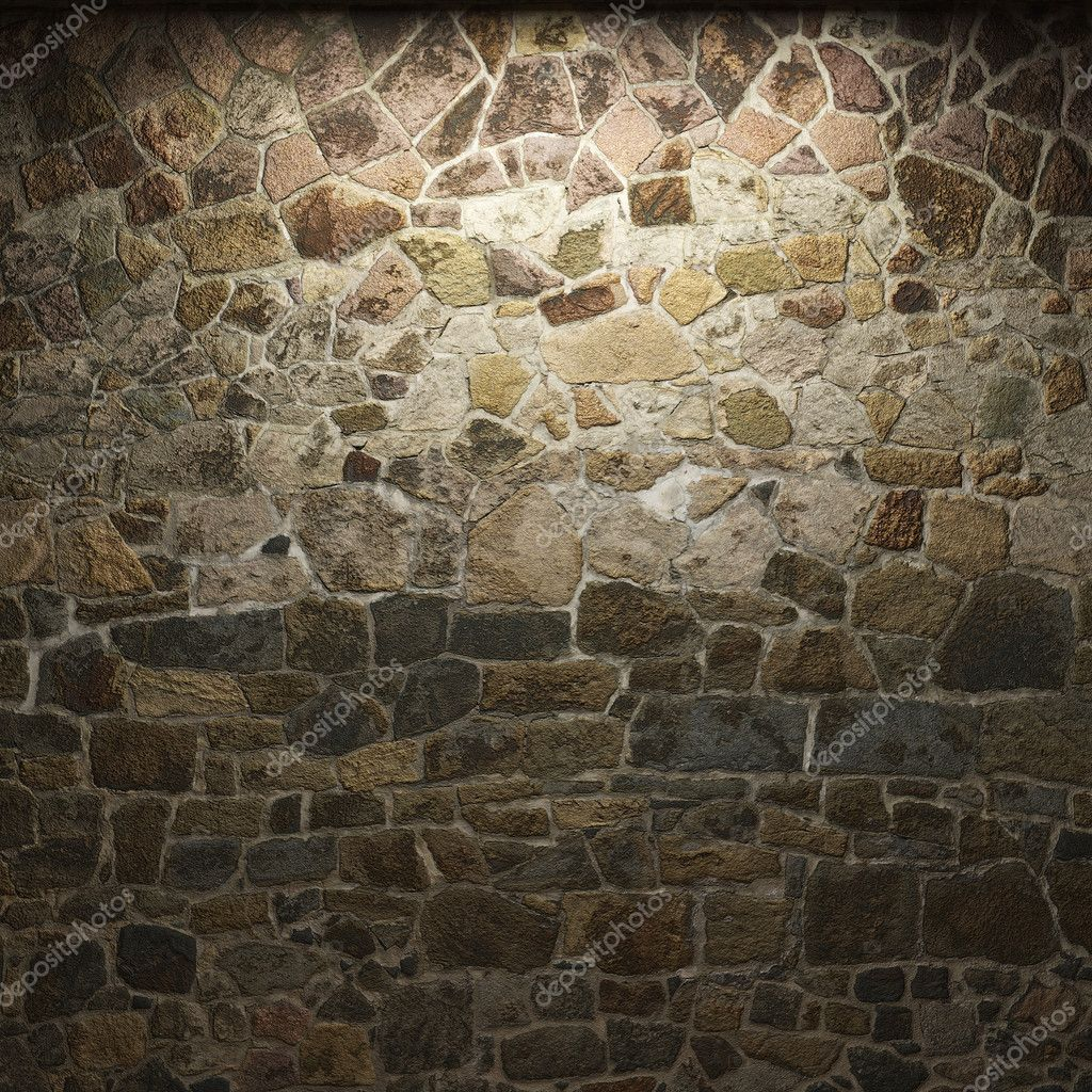 Illuminated stone wall made in 3D — Stock Photo #2800836