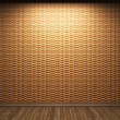 Illuminated wooden wall — Stock Photo