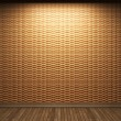 Illuminated wooden wall - Stock Photo