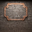 Stock Photo: Illuminated brick wall and mirror