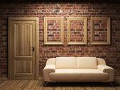 Sofá, porta e quadros — Fotografia Stock