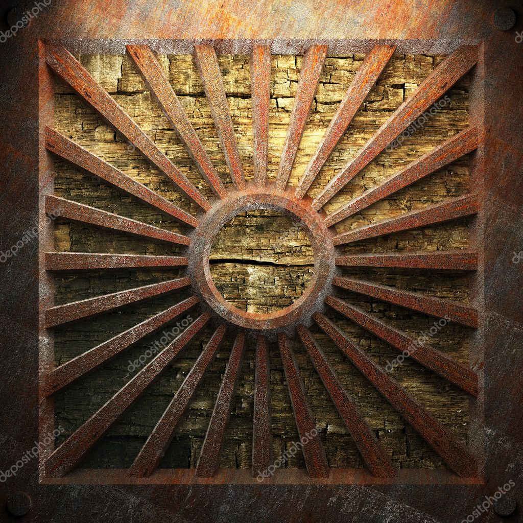 Rusty metal and wood plate made in 3D — Stock Photo #3759799