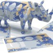 Euro origami rhino made in vector — Stockvektor