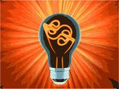 Vector bulb, which represents the profitable idea — Stock Vector