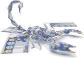 Euro origami scorpion made in vector — Stock Vector