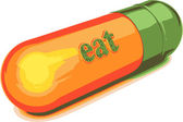 Vector green capsule eat — Stock Vector