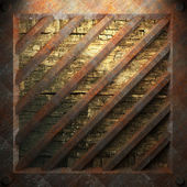 Rusty metal and wood plate — Foto Stock