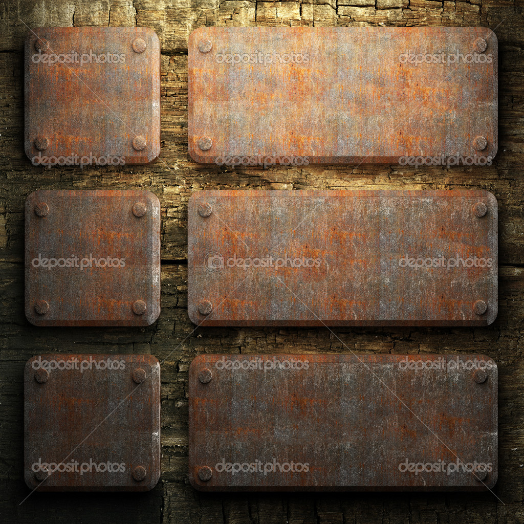 Rusty metal and wood plate made in 3D — Stock Photo #3782464