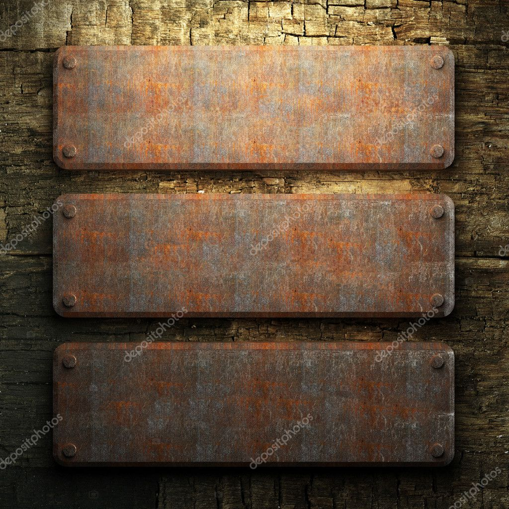 Rusty metal and wood plate made in 3D — Stock Photo #3782473