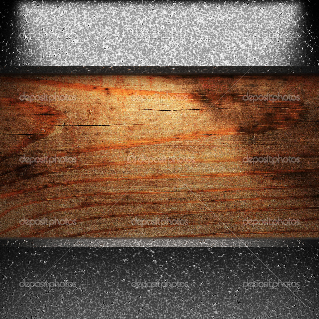 Iron plate on wood made in 3D — Stock Photo #3782508