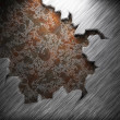 Aluminum and rusty metal plate - Stock Photo