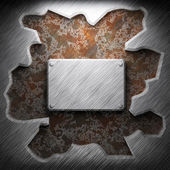 Aluminum and rusty metal plate — Stock Photo