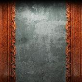 красный орнамент древесины на бетон — Стоковое фото