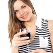Portrait of  woman with glass red wine — Stock Photo
