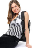 Young female student with a backpack — Stock Photo