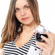 Royalty-Free Stock Photo: Beautiful woman with glass red wine