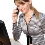 Woman in front of her desktop computer — Stock Photo #2872969