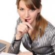 Stock Photo: Businesswoman with folder on desk