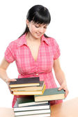 Young woman with books — Stock Photo