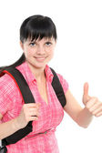 Woman with a backpack — Stock Photo