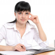Portrait of businesswoman behind table — Stock Photo