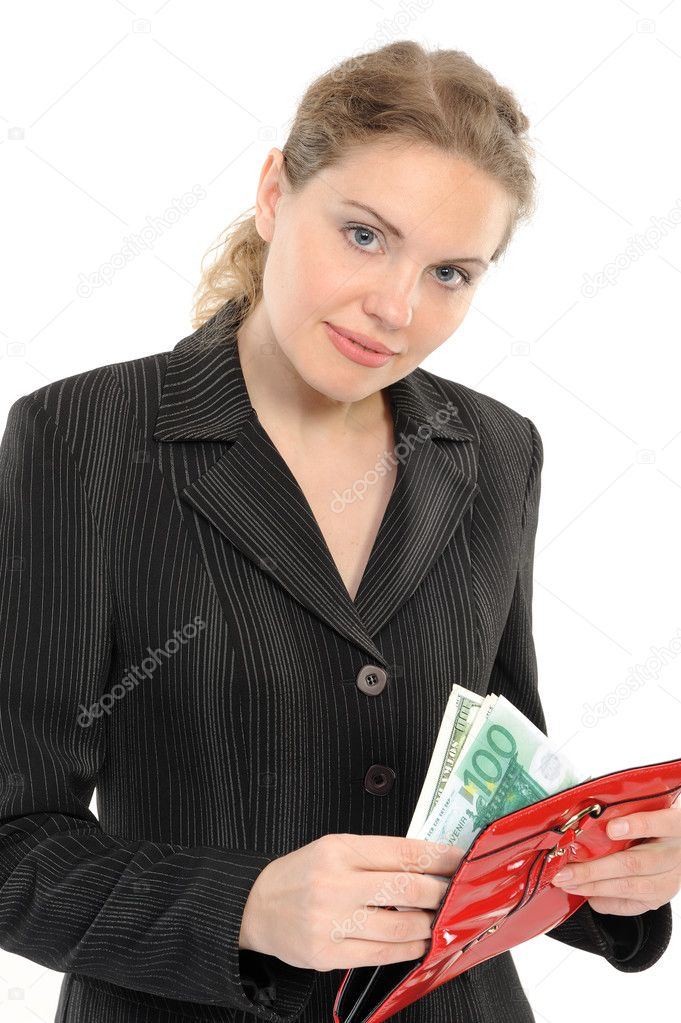 Businesswoman with purse and money  on a white background — Stock Photo #3251659