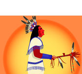 American indian shaman during sunset — Stock Vector