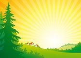 日の出風景 — ストックベクタ
