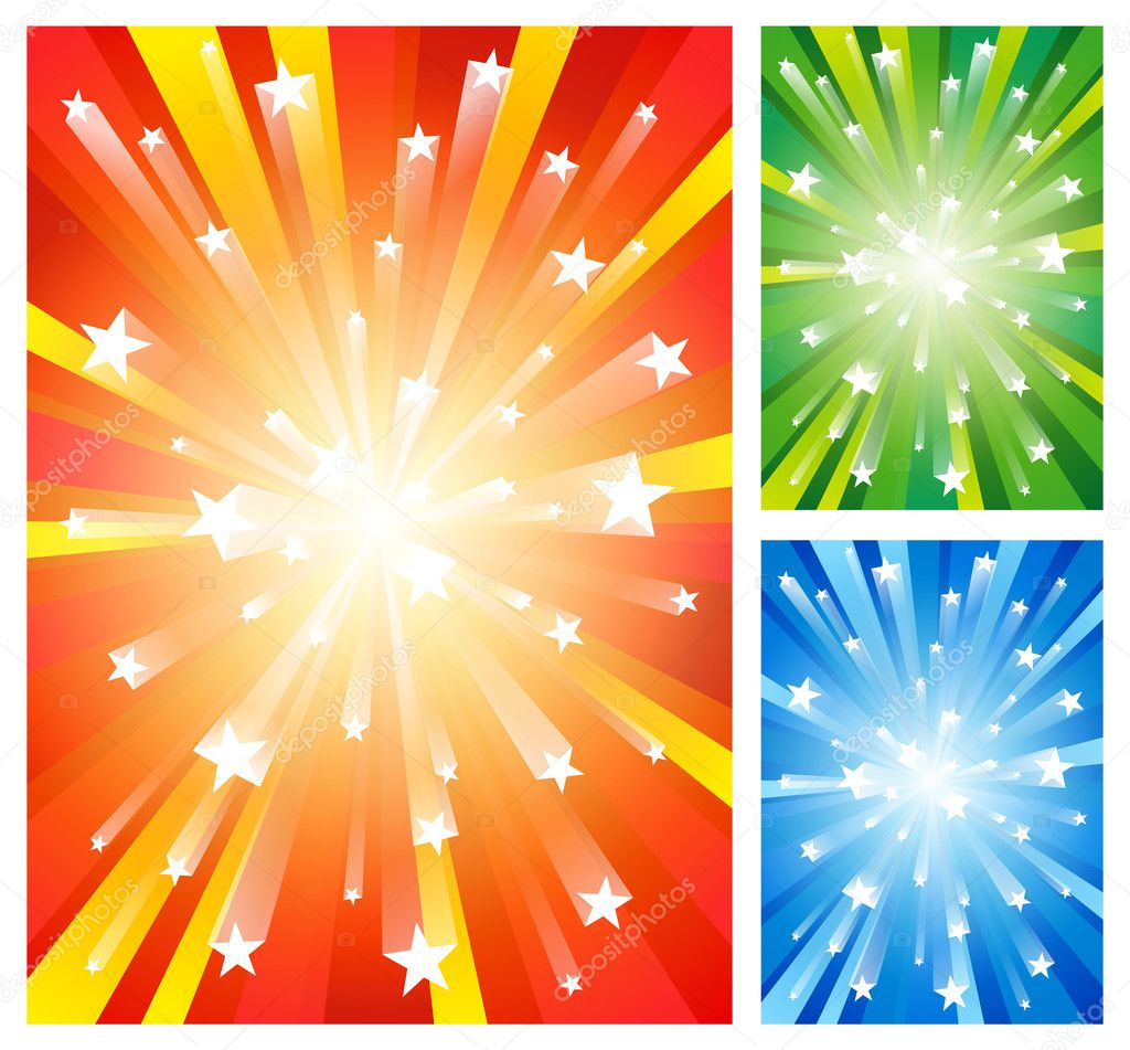 Set of 3 fireworks backgrounds. EPS10 vector. — Stock Vector #2901995
