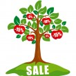 Sale concept: tree with discounts - Stock Vector