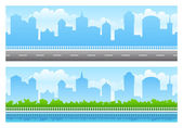 Seamless city panoramas — Stock Vector