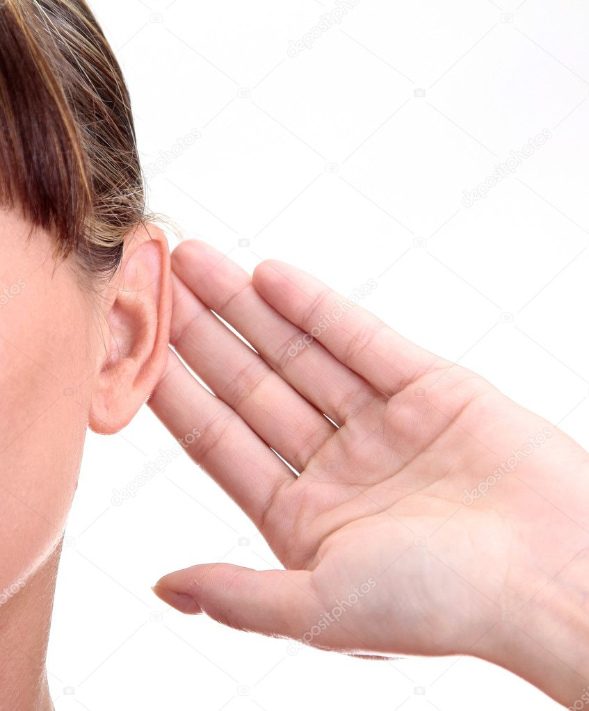 What? Closeup for female hand on ear. Listening. Vertical — Stock Photo #3400662