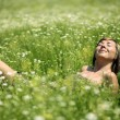 Woman in meadow — Stock fotografie