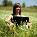 werken met de laptop in weide — Stockfoto