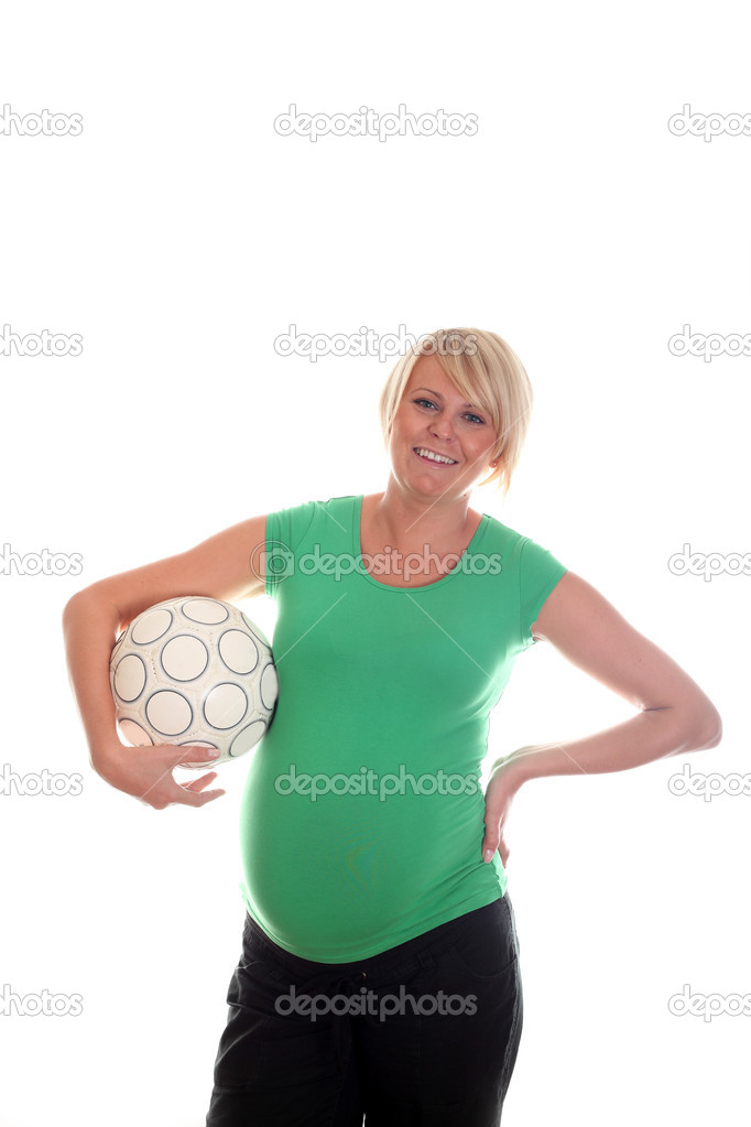 Pregnant Woman and Football Ball! — Stock Photo #3812966