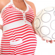 Royalty-Free Stock Photo: Pregnant Belly and Football Ball. This will be a Boy!