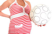 Pregnant Belly and Football Ball. This will be a Boy! — Stock Photo