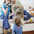 Happy family special moments on video — Stockfoto