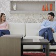 Couple relax at home on sofa — Stock Photo