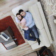 Couple relax at home on sofa — Foto de Stock