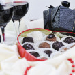 Wine and chocolate — Stock Photo