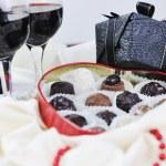 Wine and chocolate — Stock Photo