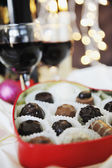 Wine and chocolate — Stockfoto