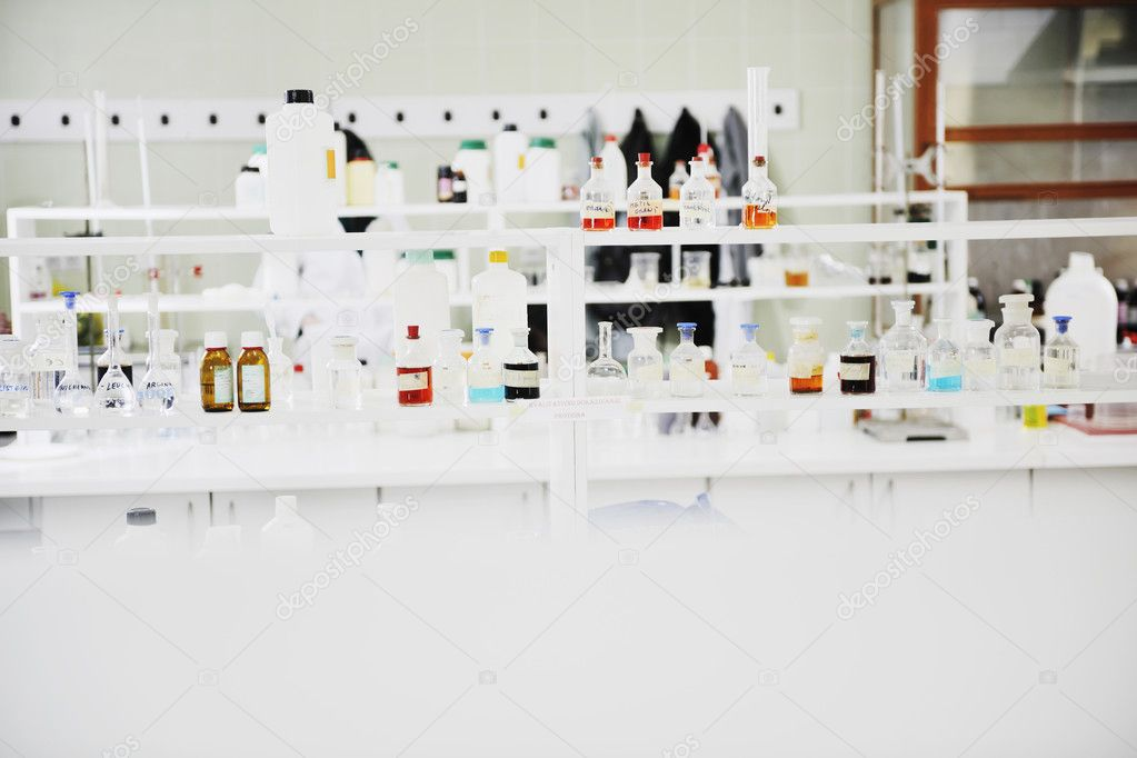 Test tubes in chemistry bright lab — Stock Photo #2996850