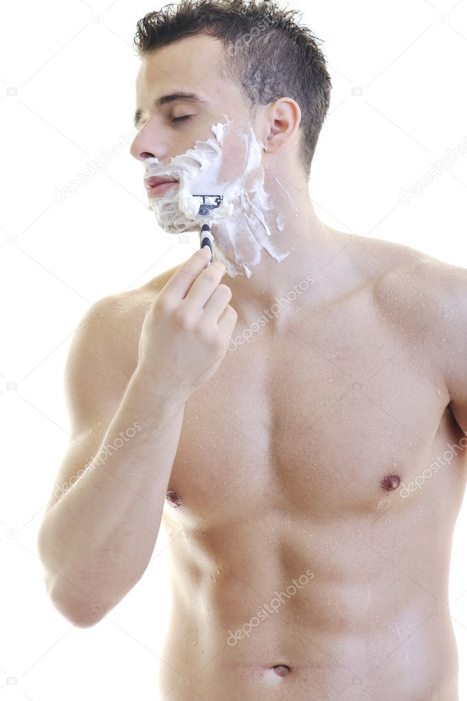 Young man shave isolated on white — Stock Photo #3027184