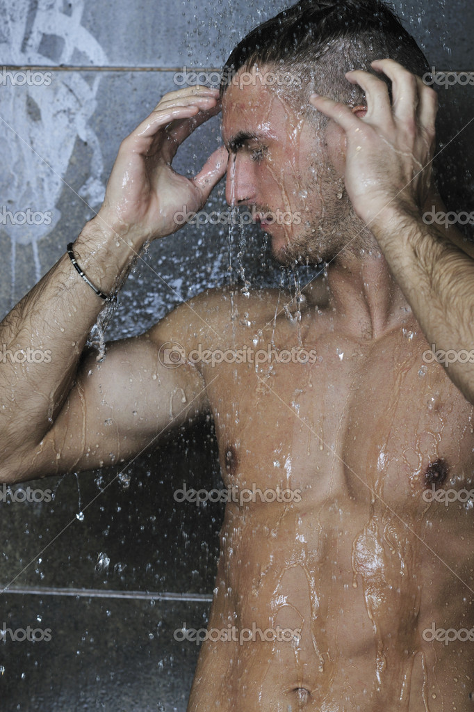 Image Good Looking Man Under Shower Stock Image Download