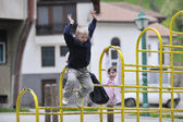 Happy brother and sister outdoor in park — Stockfoto