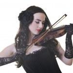 güzel genç bayan oynamak keman — Stok fotoğraf