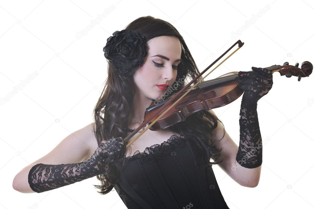 Beautiful young happy woman play violin music instrument isolated on white — Stock Photo #3286453